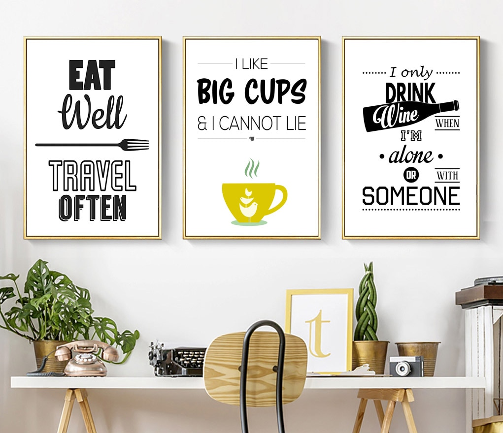 Black And White Kitchen Decor Wine Letters Canvas Painting Wall Art Pop Poster Print Pictures For Dining Room Home Nordic Decoration